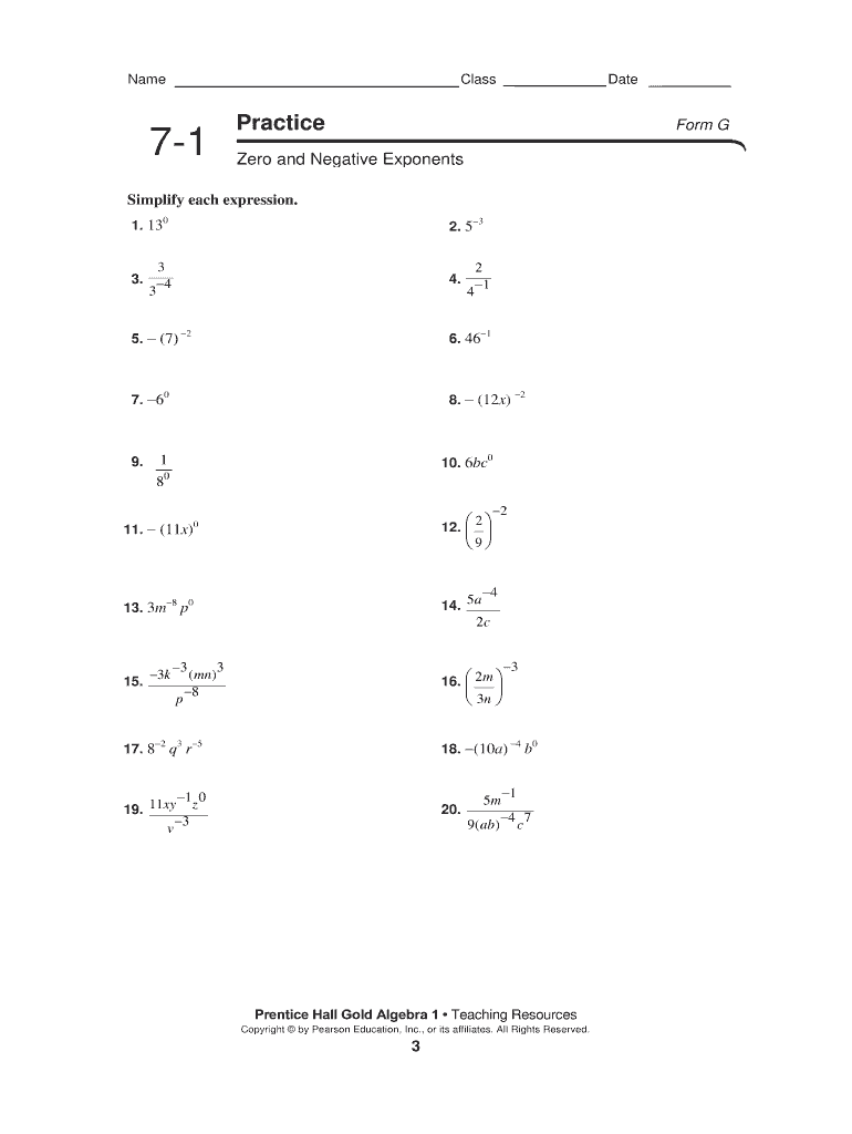 5 1 Practice Zero And Negative Exponents Form G Answer Key