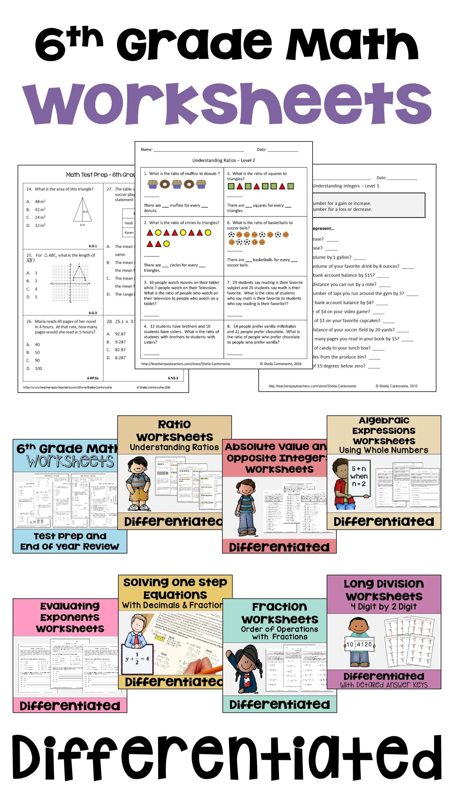 6Th Grade Math Differentiated Worksheet Bundle For Centers