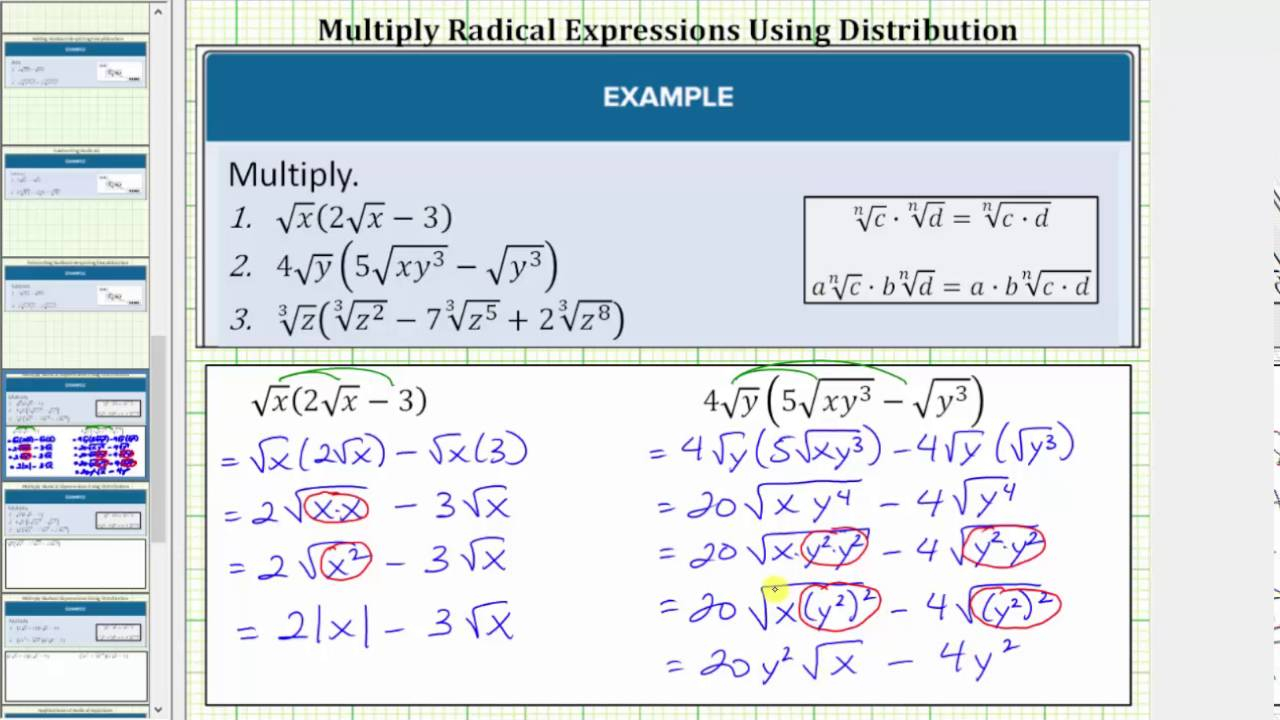 9.4 – Algebraic Operations With Radical Expressions | Hunter