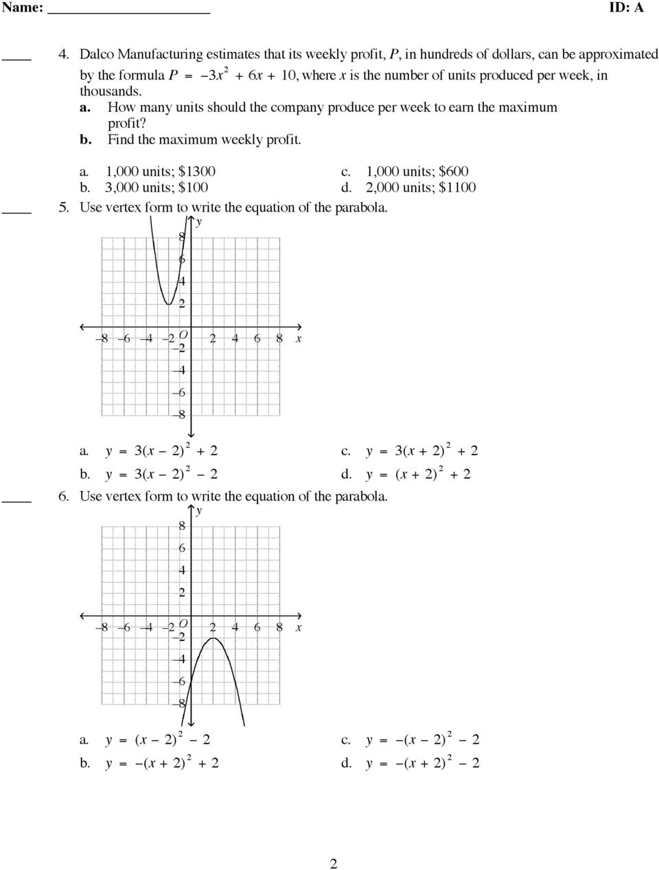 Algebra 2 Chapter 5 Practice Test (Review) - Pdf Free Download