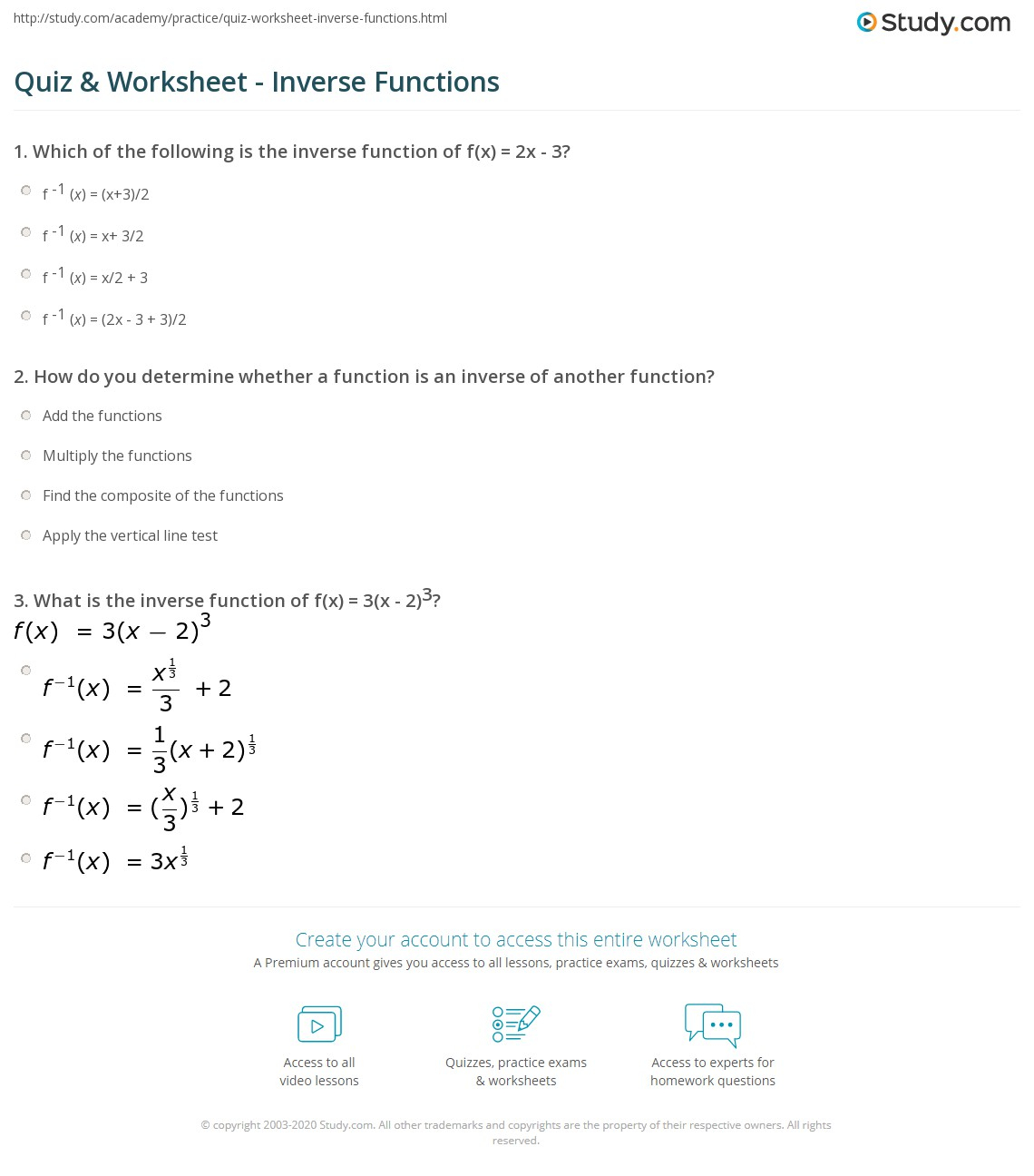 Algebra 2 Inverse Functions Worksheet - Promotiontablecovers