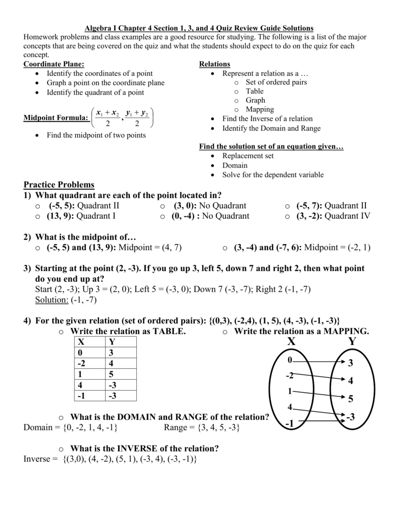 Algebra I Chapter 4 Section 1, 3, And 4 Quiz Review Guide