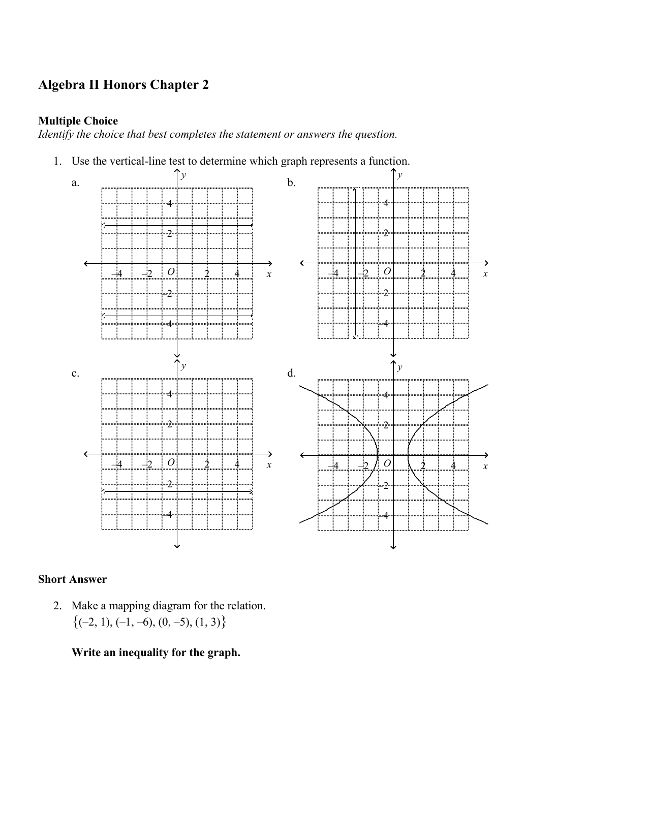 Algebra Ii Honors Chapter 2 Answer Section