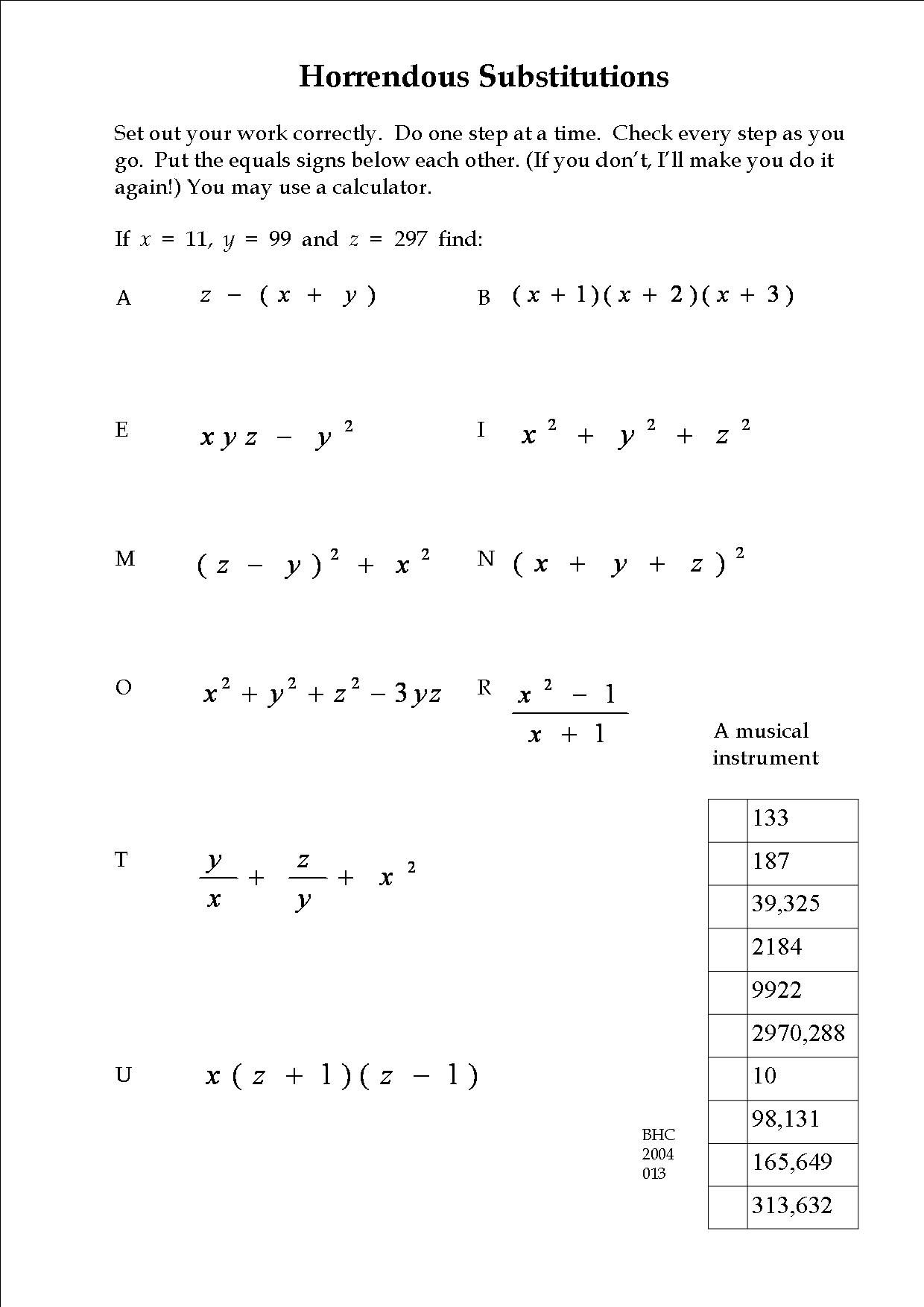 An Exercise In Substitution.   Math Worksheet, Math, Teaching