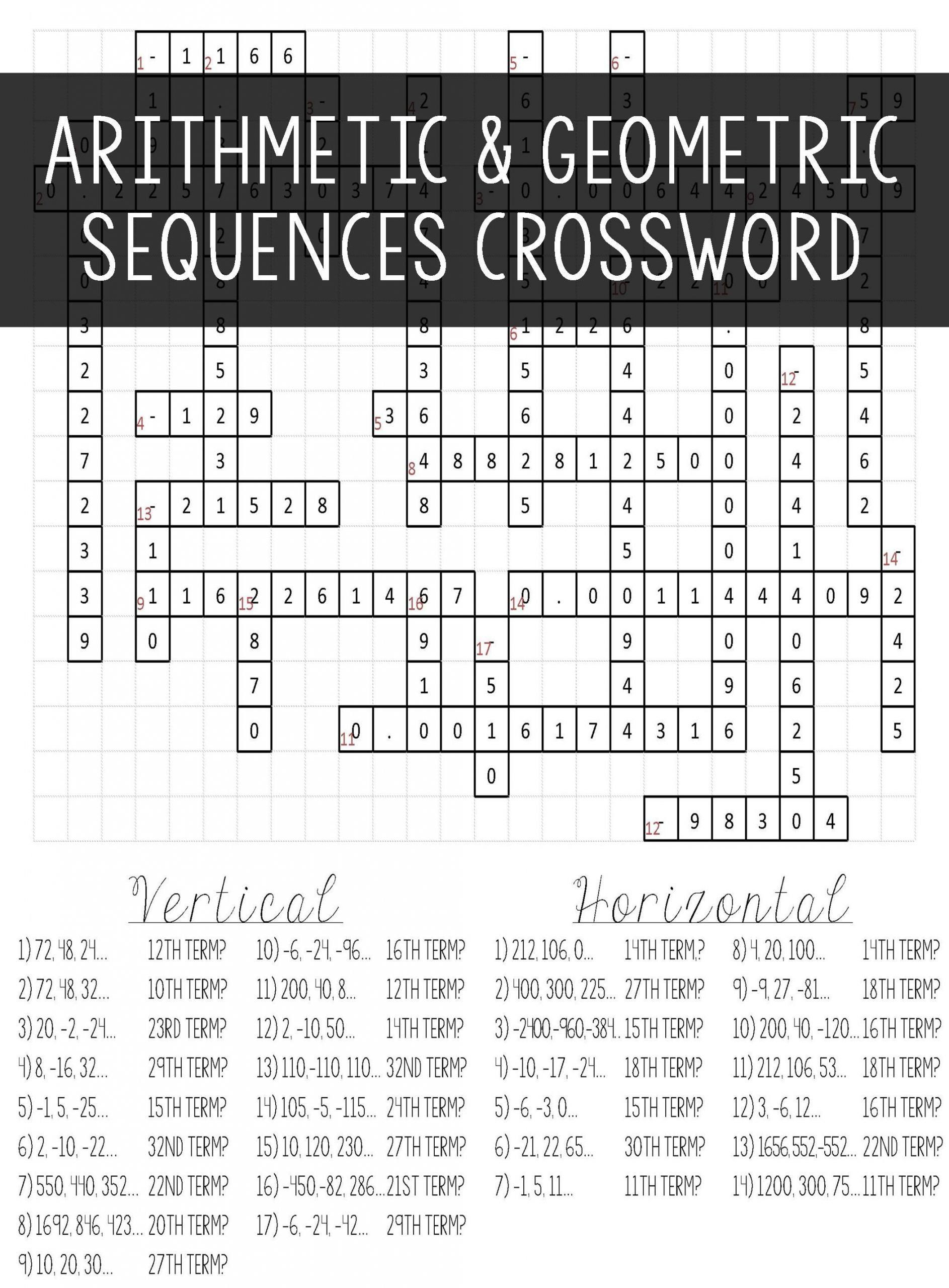 Arithmetic And Geometric Sequences Worksheet Arithmetic
