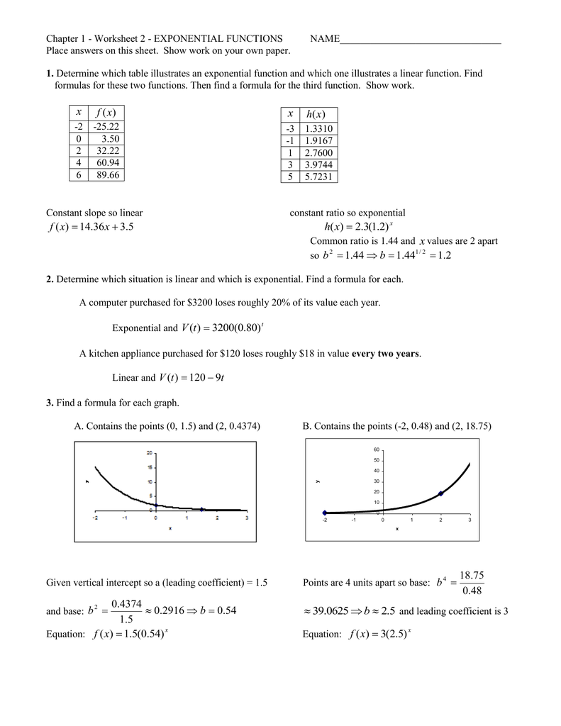 Chapter 1 - Worksheet 2 - Exponential Functions