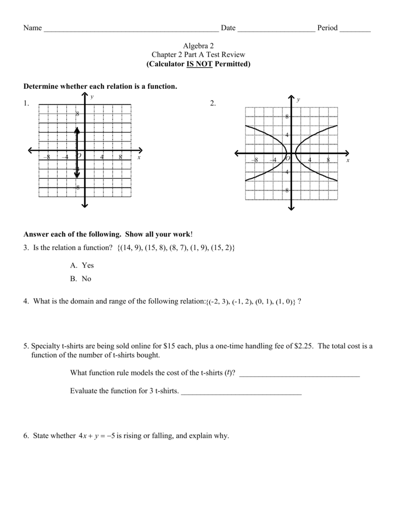 Chapter 2 Test Part A Review Worksheet