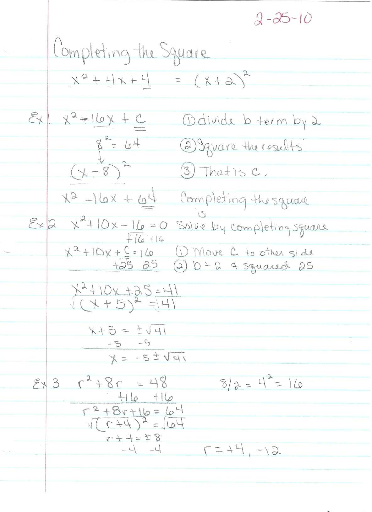 Completing The Square Worksheets With Answers | Printable