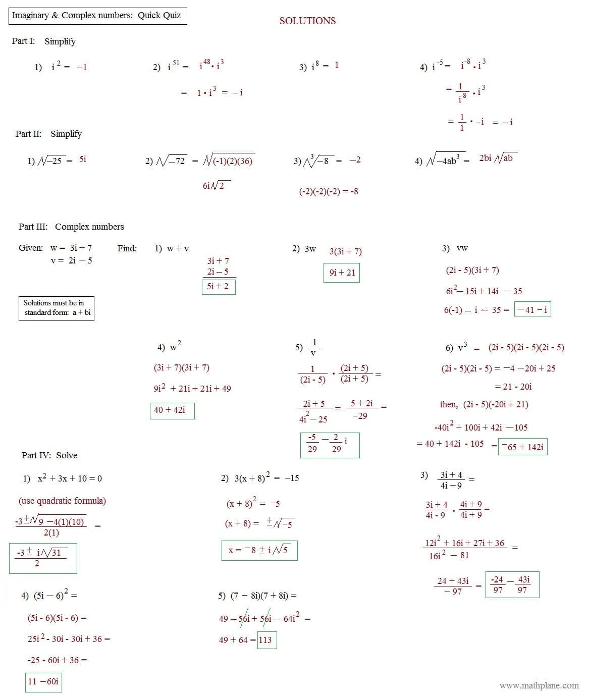 Complex Numbers Maze Worksheet Answers   Printable