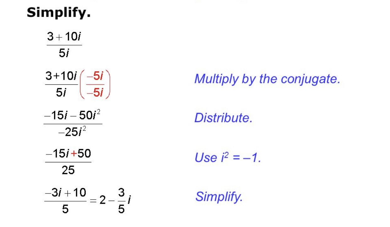 Dividing Complex Numbers | Complex Numbers, Math, Simplify