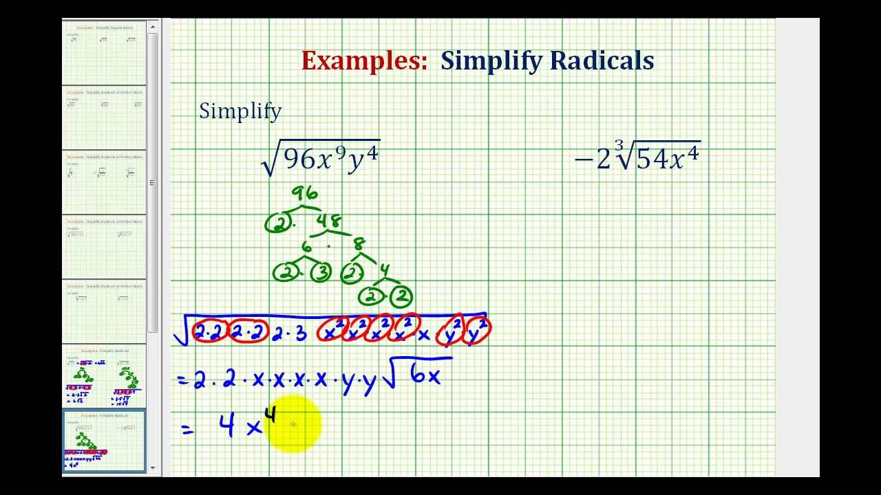 Ex: Simplify Radicals With Variables - Not Perfect Roots