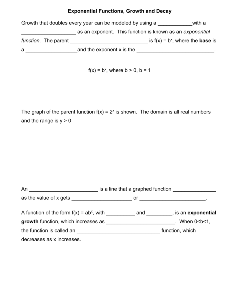 Exponential Functions Growth And Decay Worksheet - Worksheet