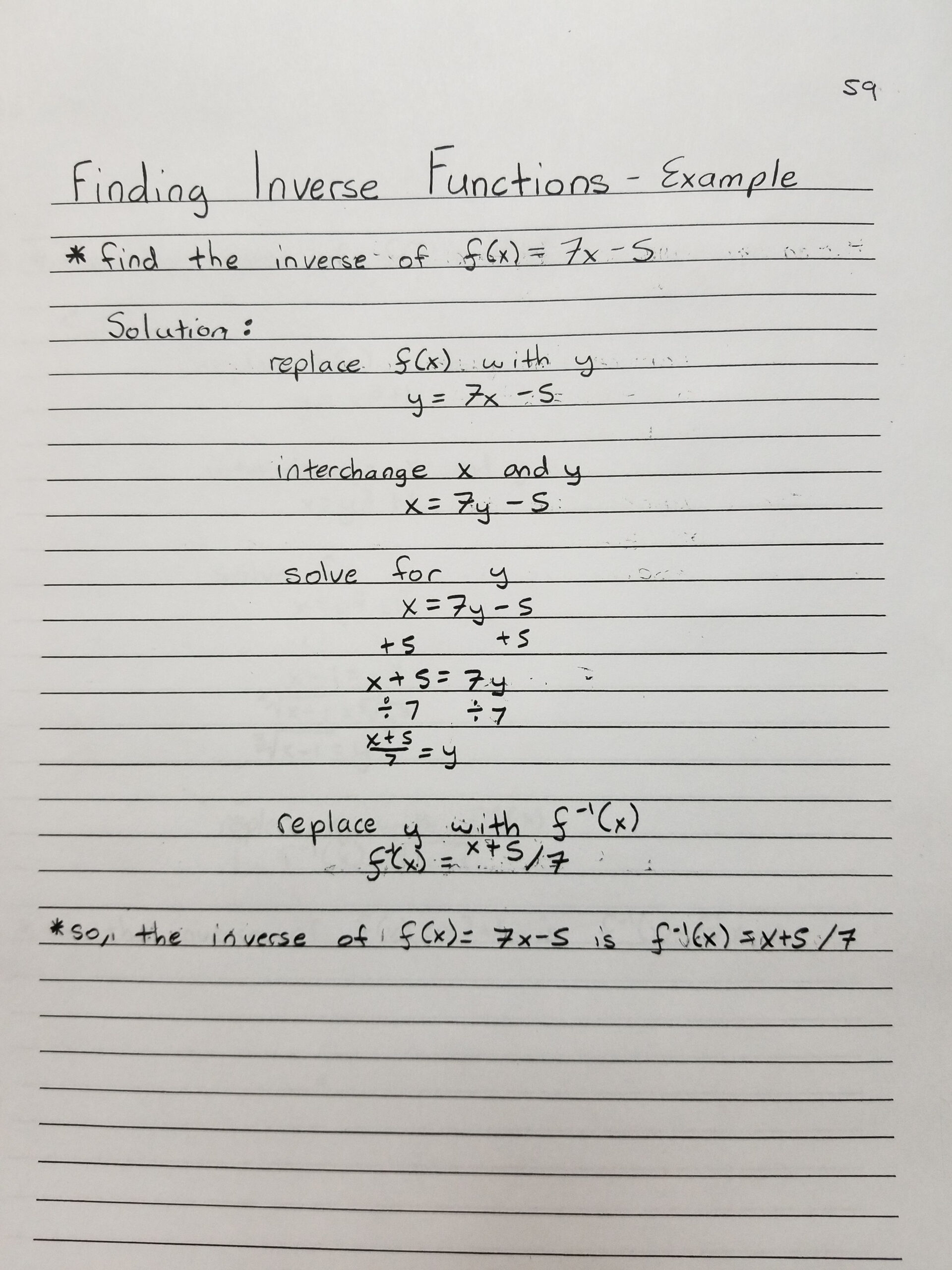 Finding Inverse Functions -- Example 1 | Inverse Functions