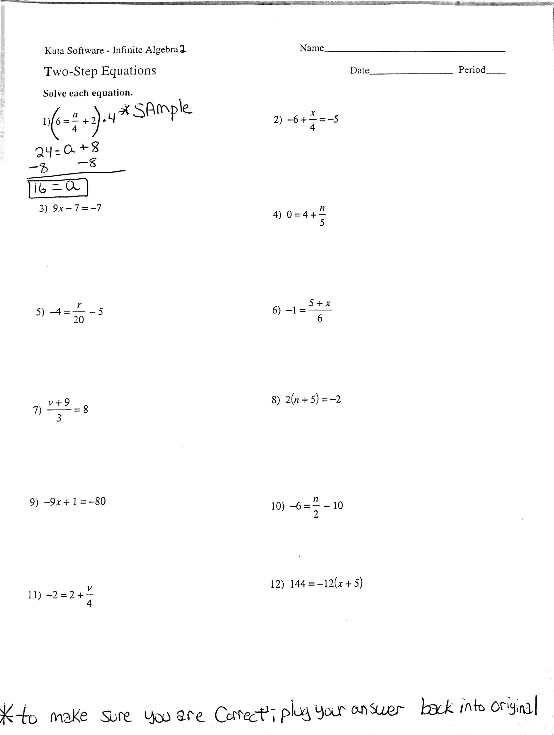 Free Printable Two-Step Equation Worksheets (Page 1) - Line