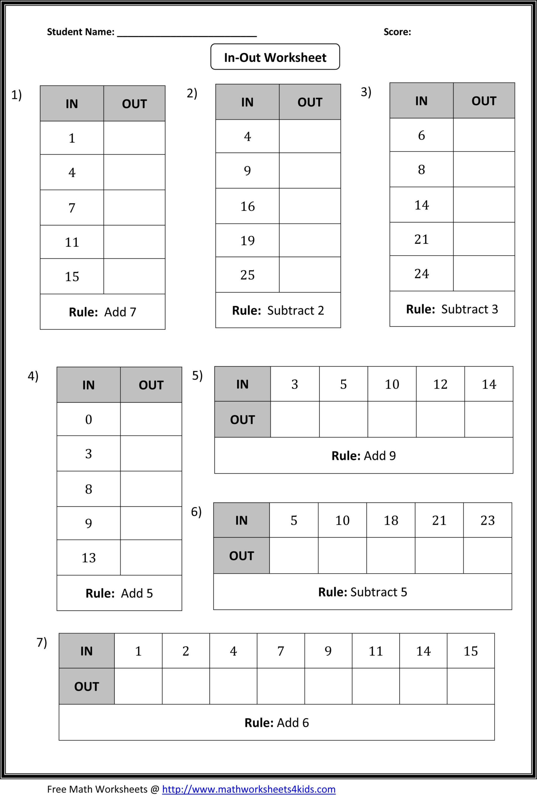Function Table Worksheets Answers - A Function Table