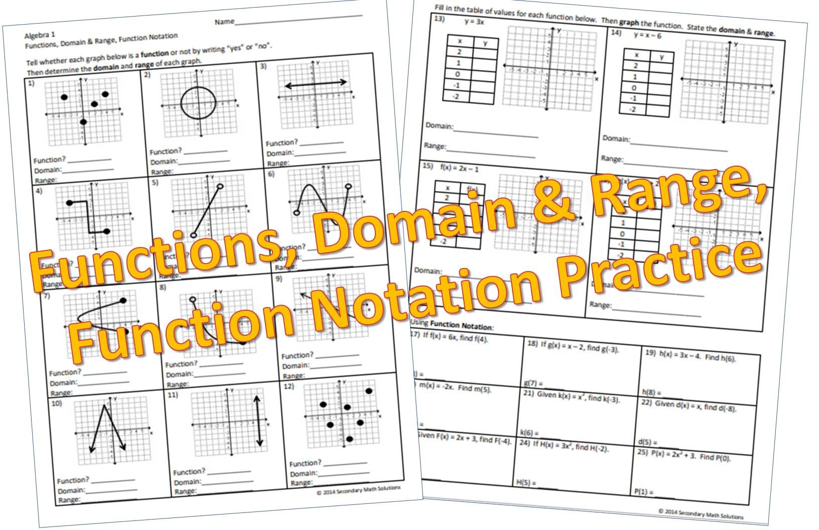 Functions, Domain & Range, Function Notation Practice