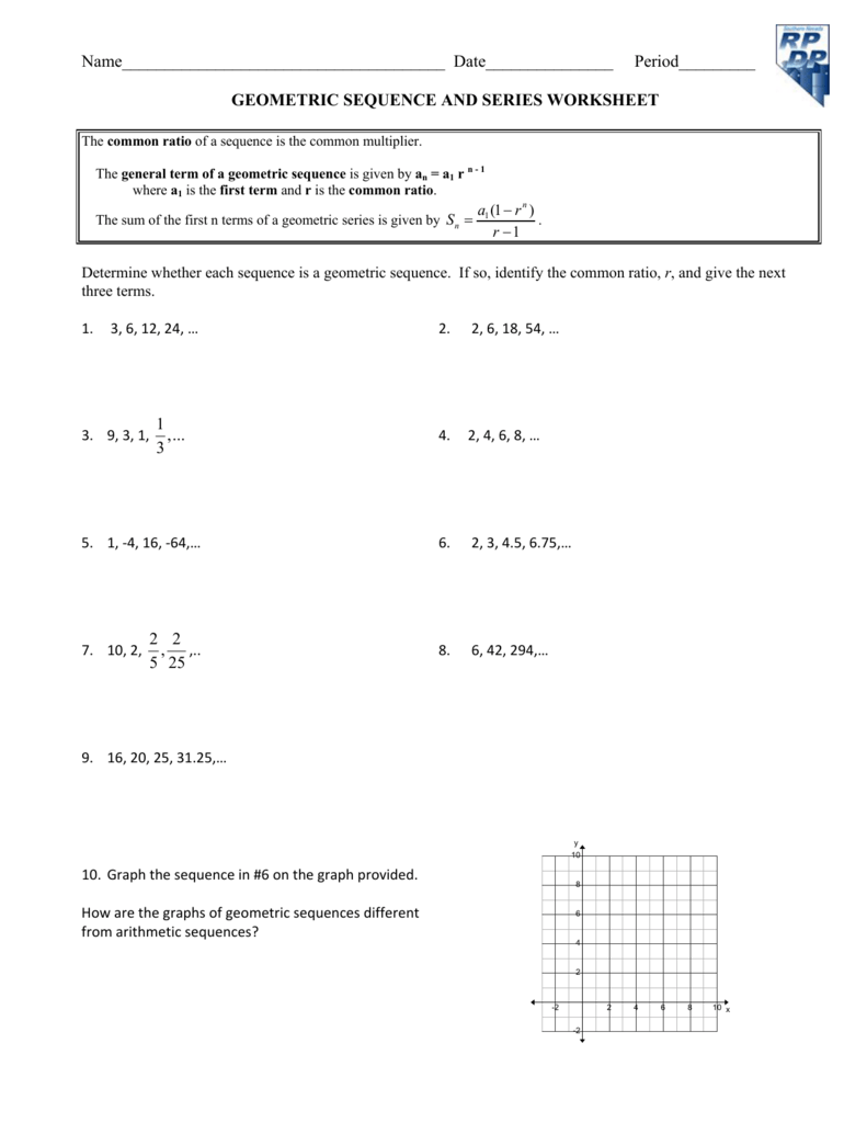 Geometric Sequence And Series Worksheet. The