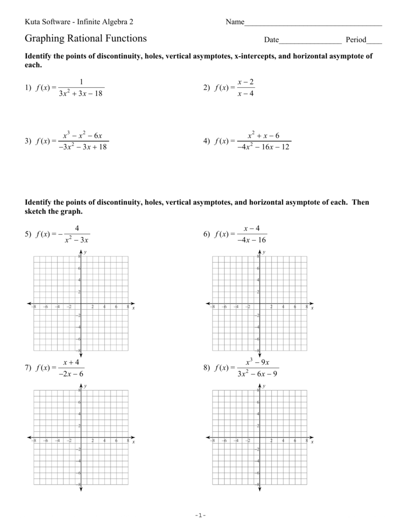 Graphing Rational Functions Worksheet Answer Key