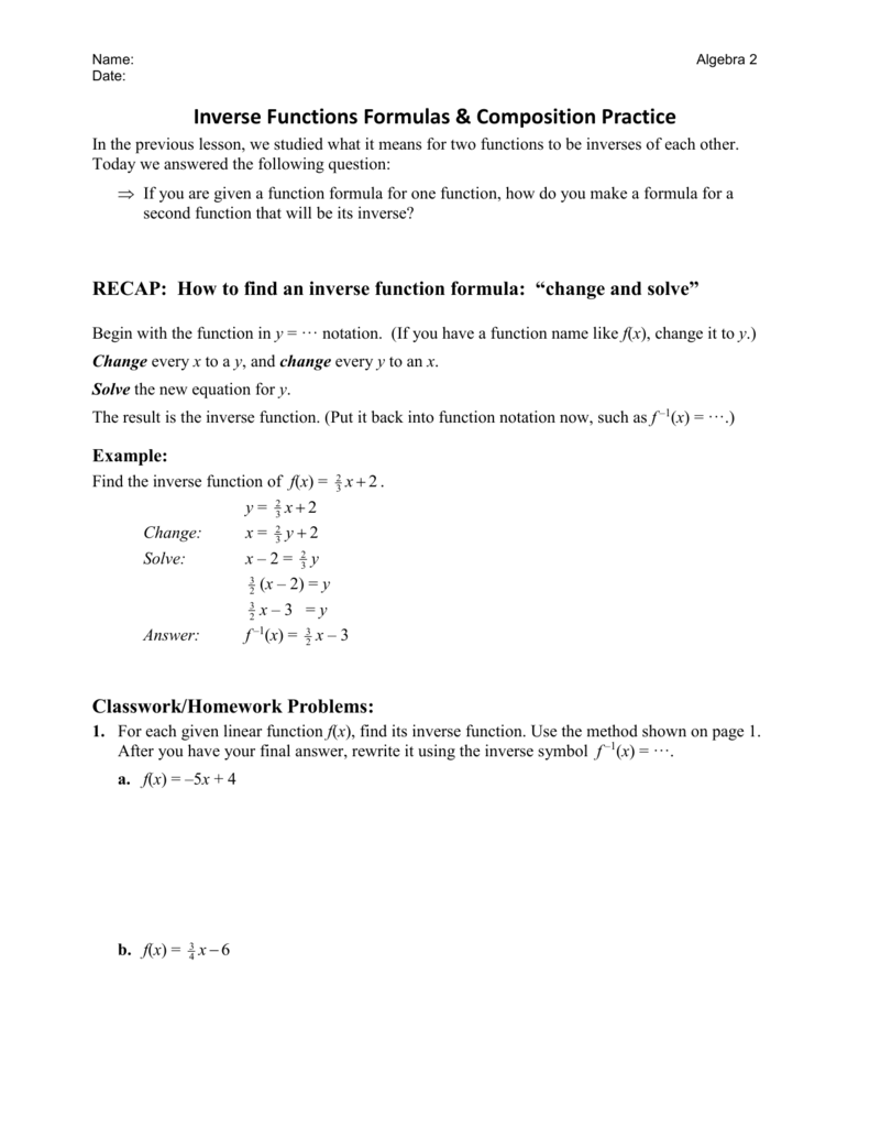 Inverse Of Linear Functions Worksheet - Promotiontablecovers