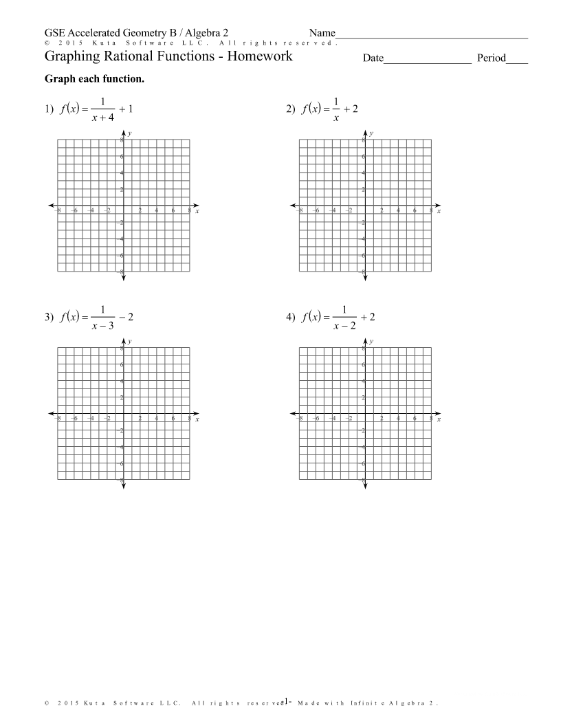Kuta Software Graphing Rational Functions Answer Key Free