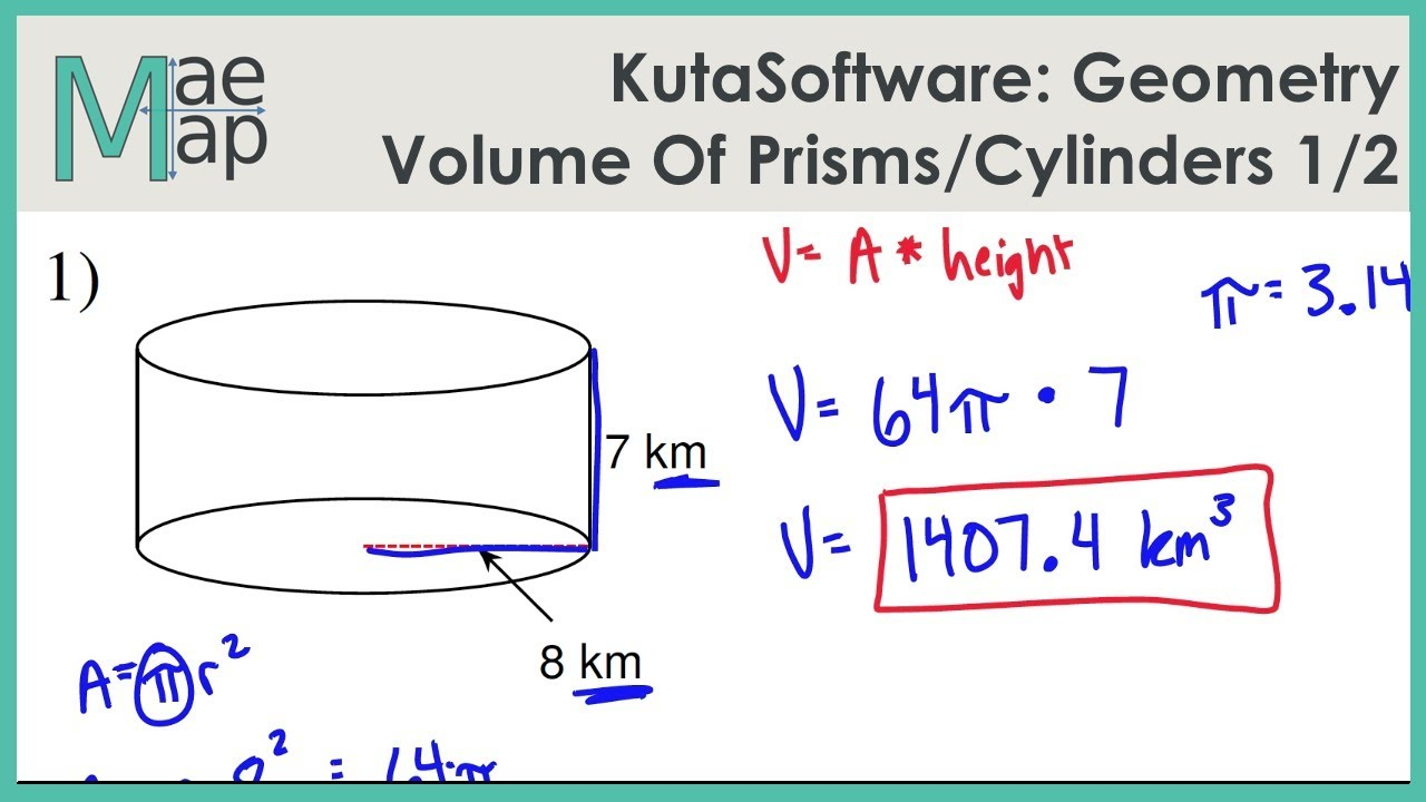 Kutasoftware: Geometry- Volume Of Prisms And Cylinders Part 1