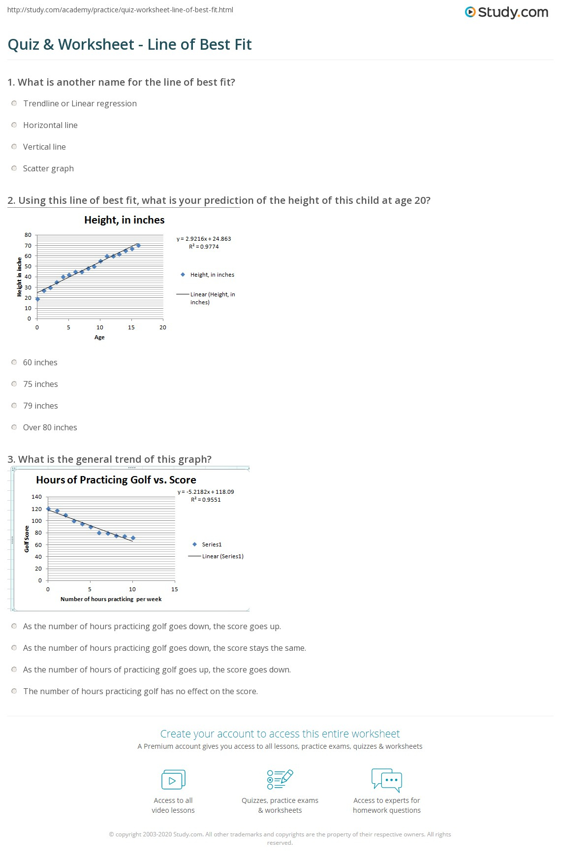 Line Of Best Fit Worksheet With Answers   Kids Activities
