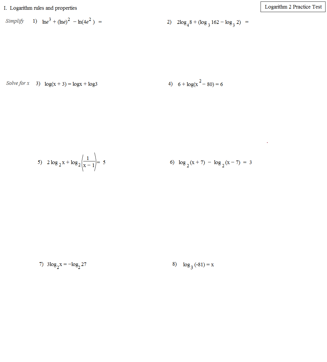 Math Plane - Logarithms And Exponents Ii - Equations