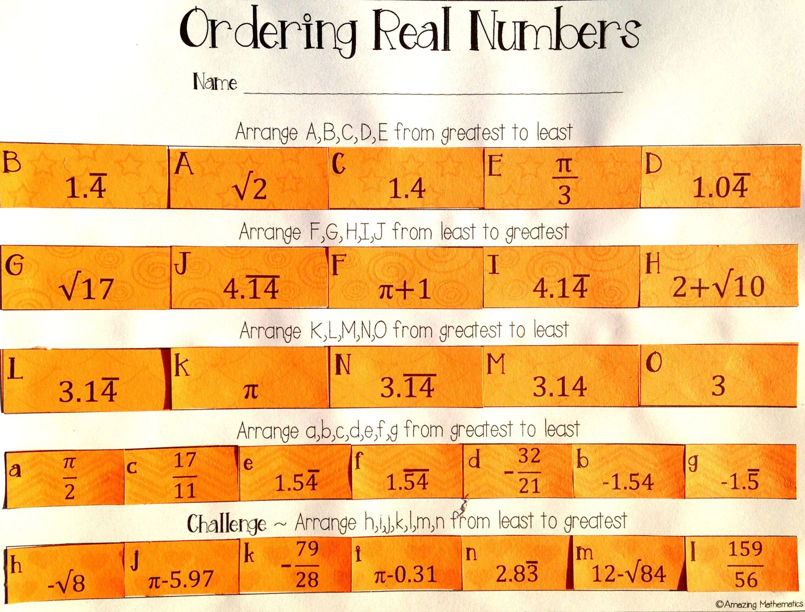 My 8Th Grade Math Students Loved This Ordering Real Numbers