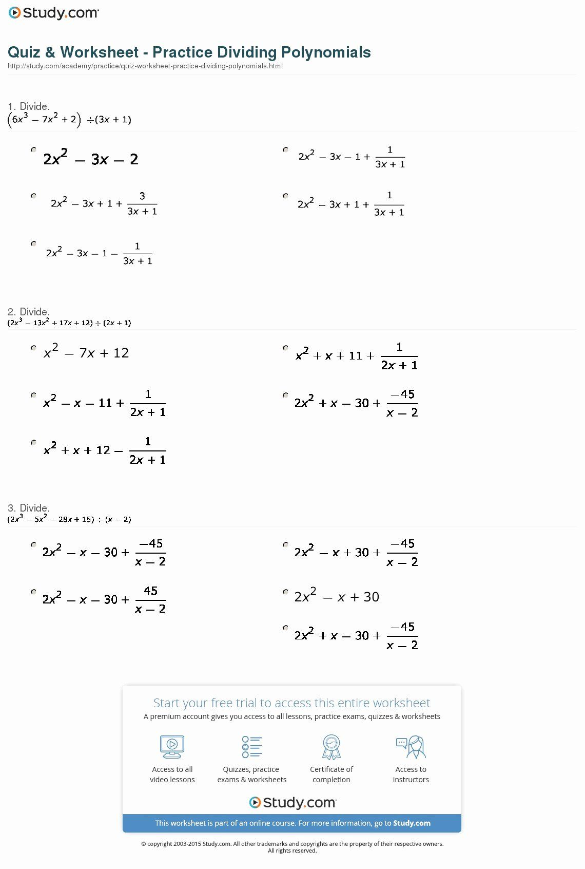 Operations With Polynomials Worksheet Unique Math Worksheet
