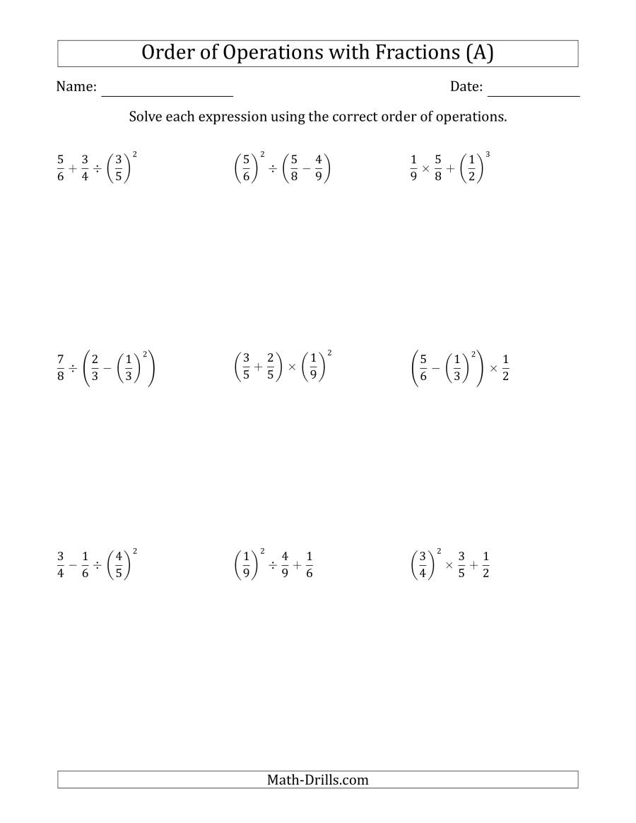 Order Of Operations With Positive Fractions (Three Steps) (A)