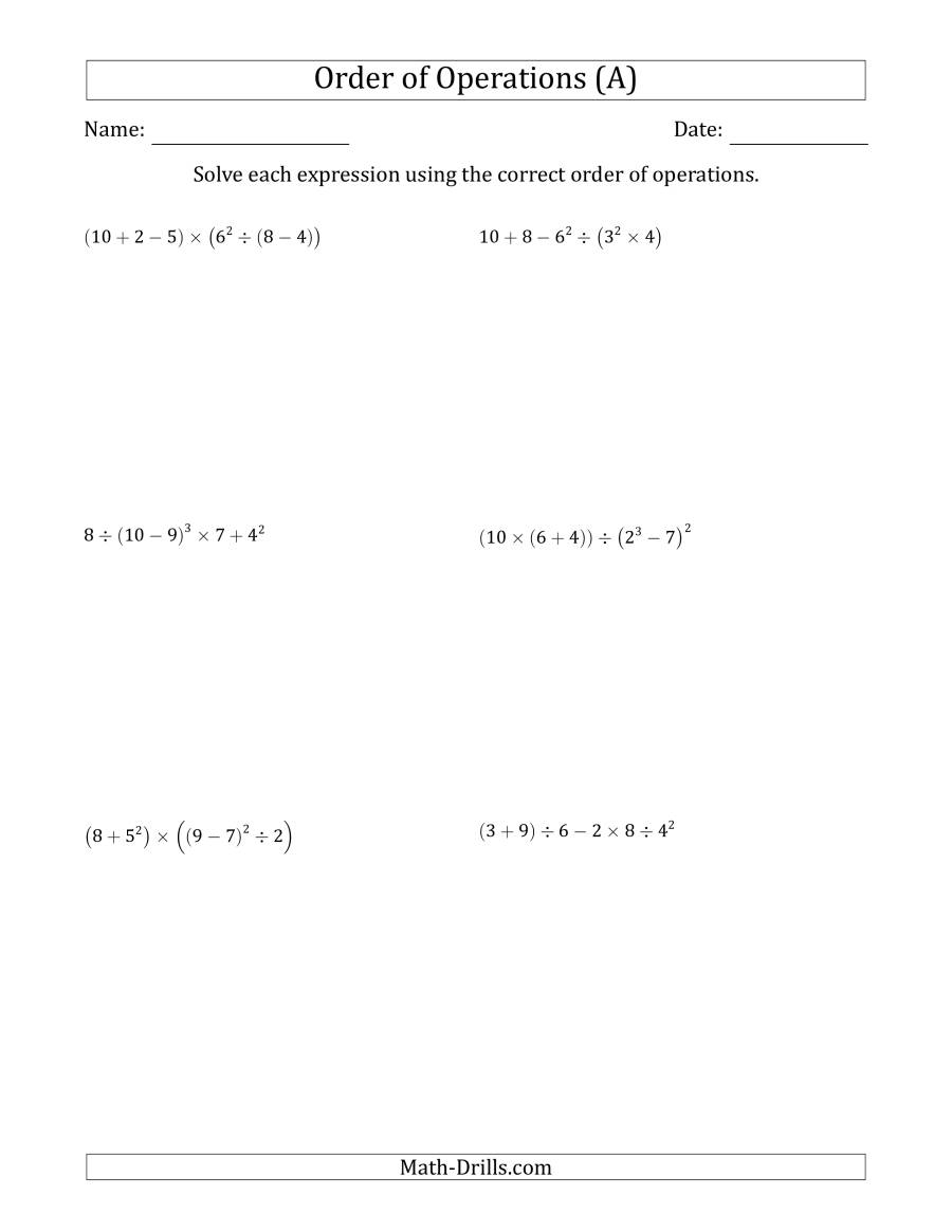 Order Of Operations With Whole Numbers (Six Steps) (A)