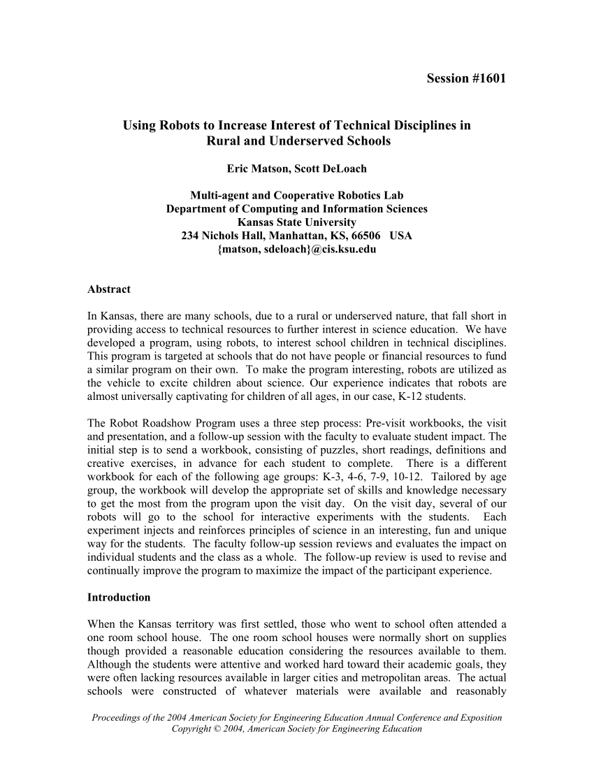 Pdf) Using Robots To Increase Interest Of Technical