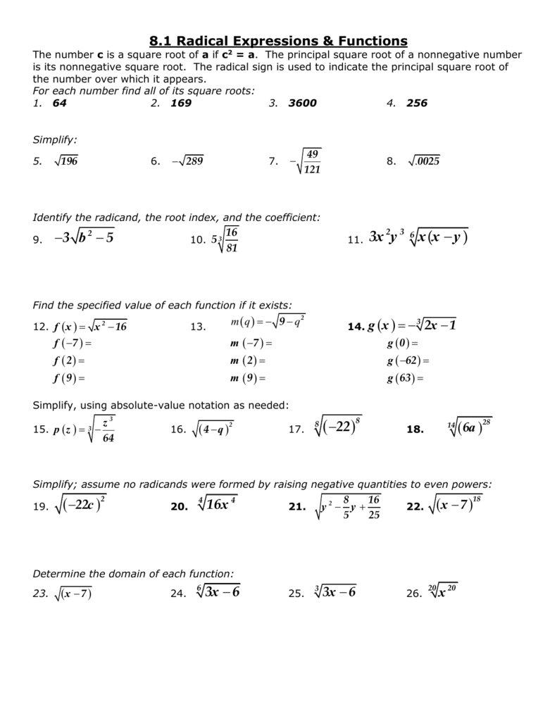 Radical Expressions And Rational Exponents Worksheet