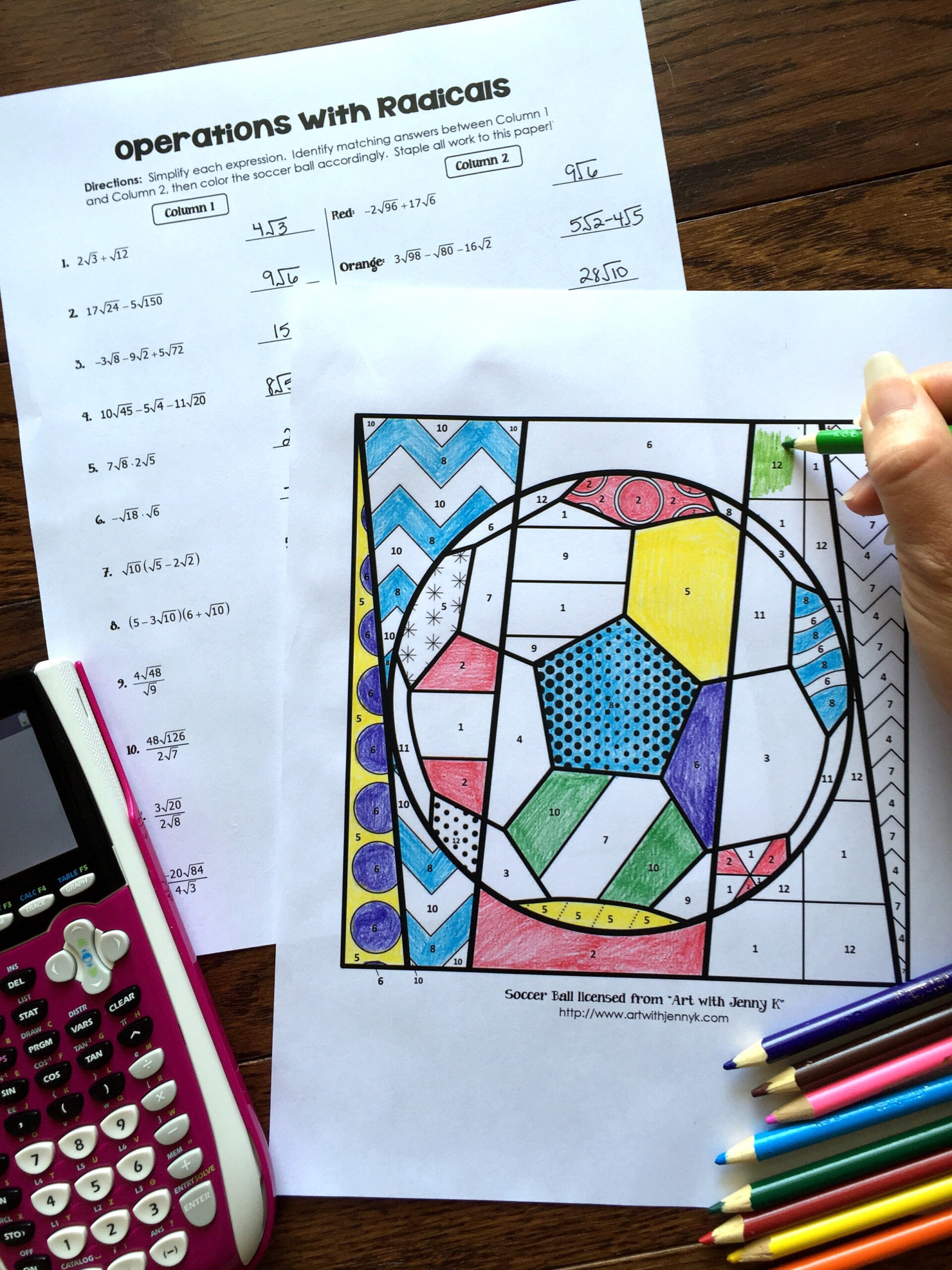 Radical Operations Coloring Activity   Color Activities