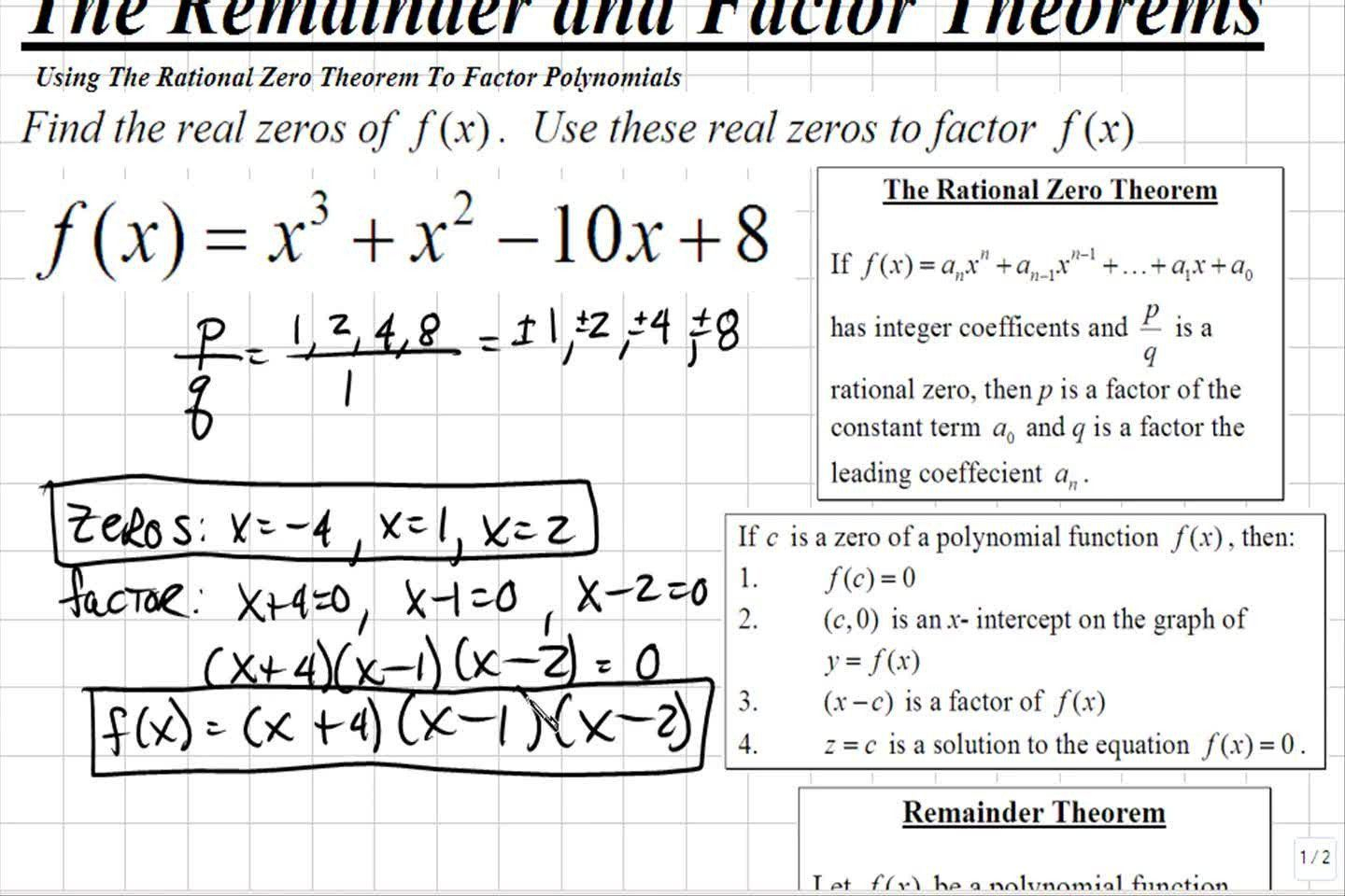 Rational Root Theorem Worksheet Classroom | Rational Root