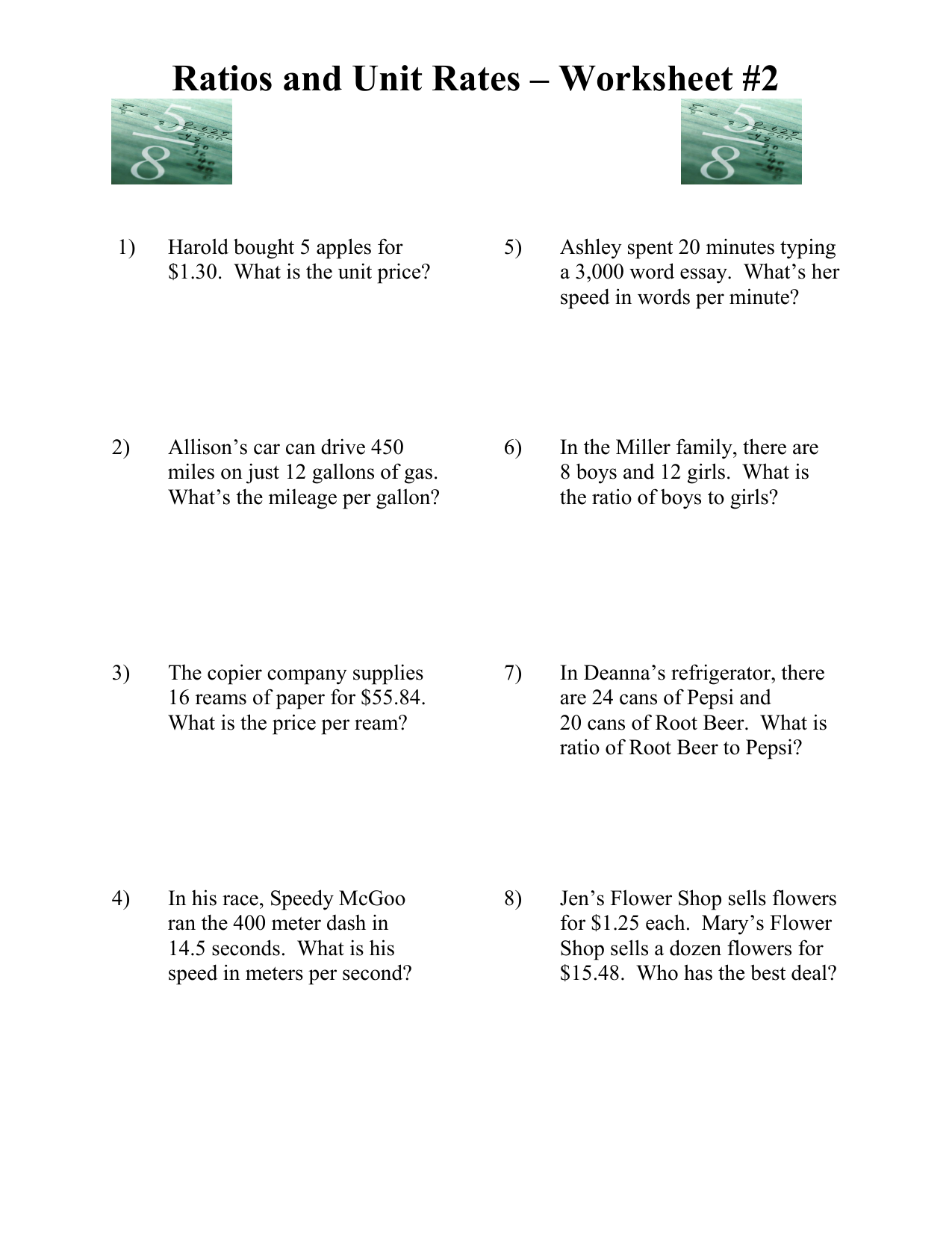 Ratios And Unit Rates Worksheet - Promotiontablecovers
