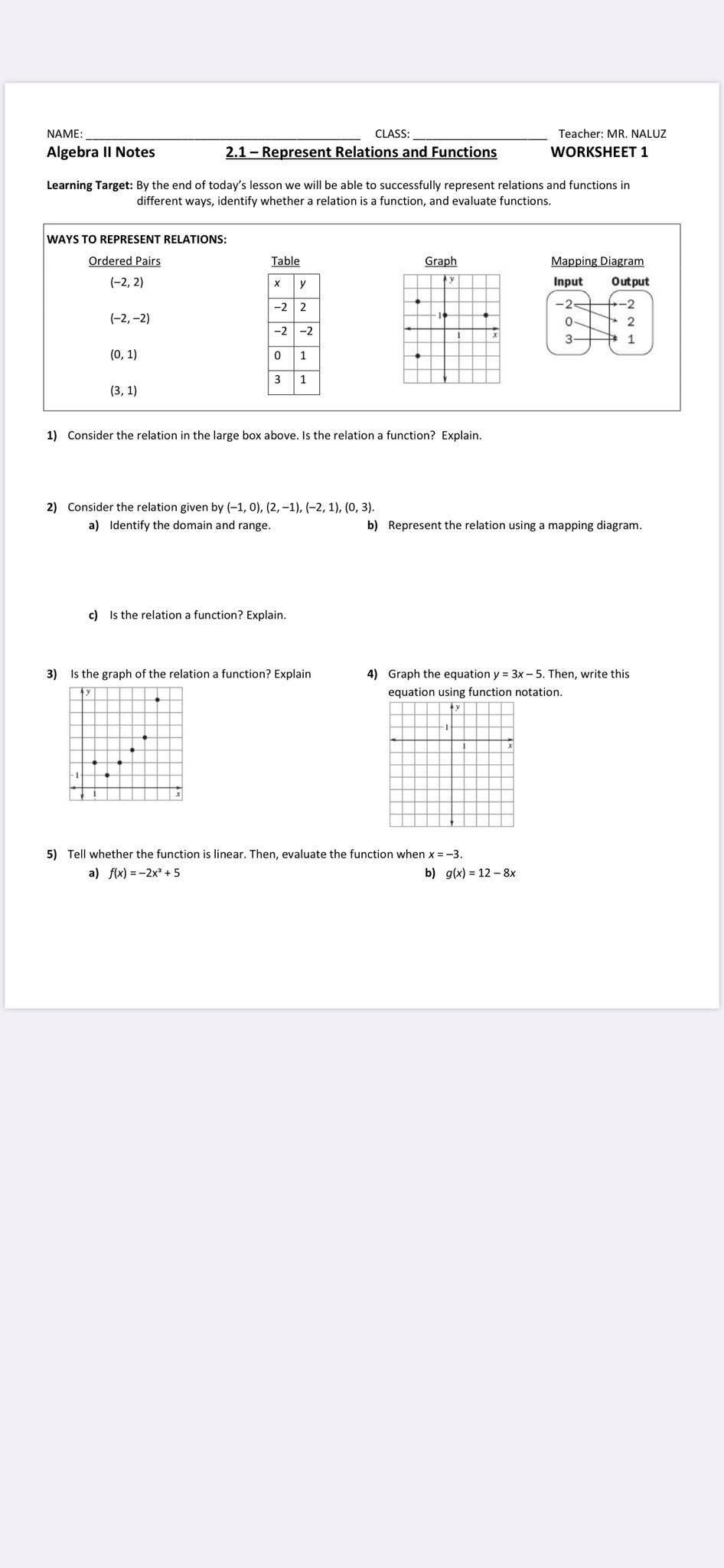 Solved: Name: Algebra Il Notes Class: 2.1 - Represent Rela