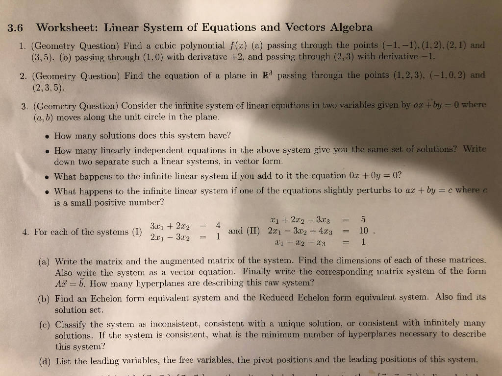 Solved: Worksheet: Linear System Of Equations And Vectors