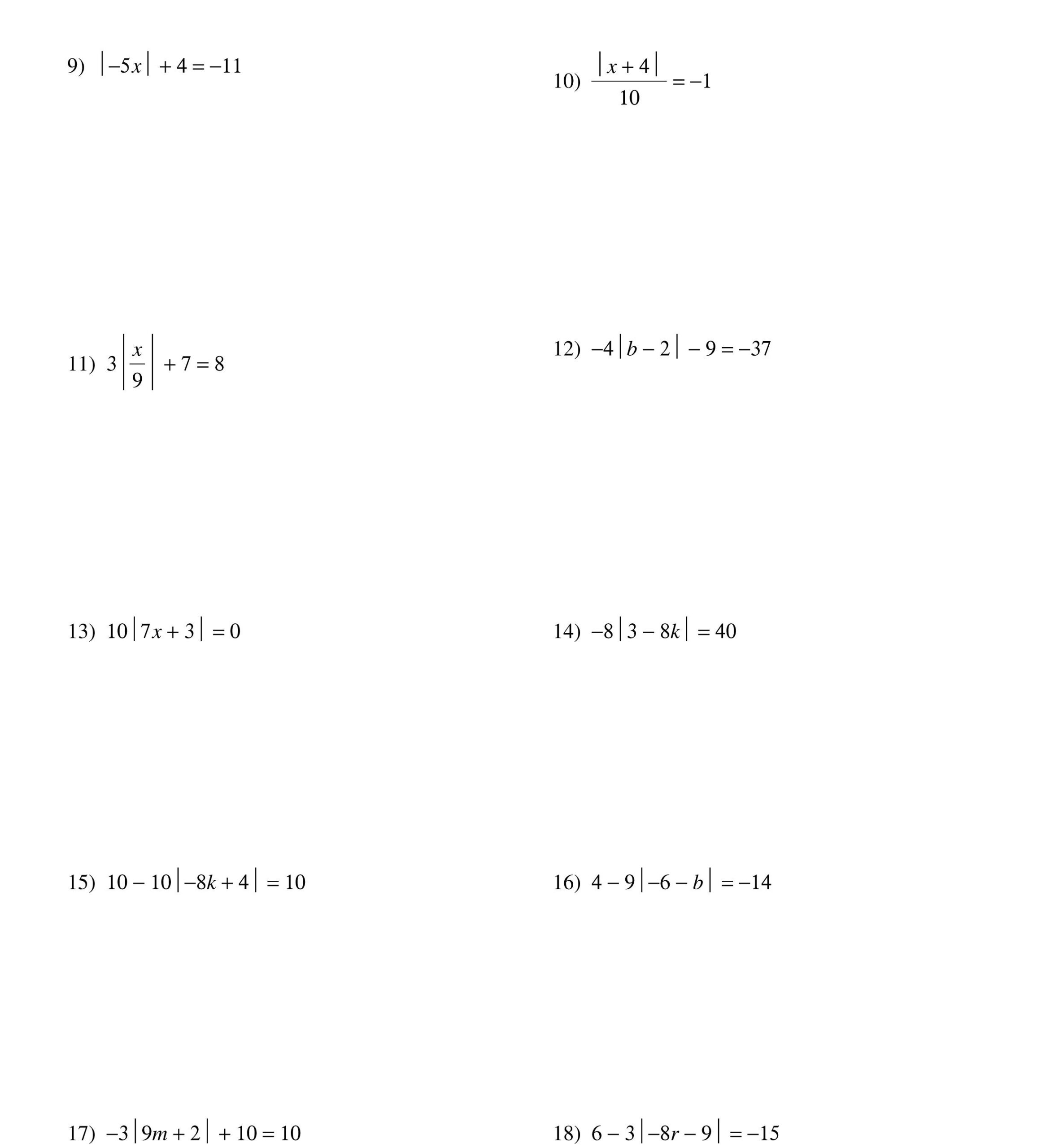 Solving Absolute Value Equations Worksheet   Absolute Value