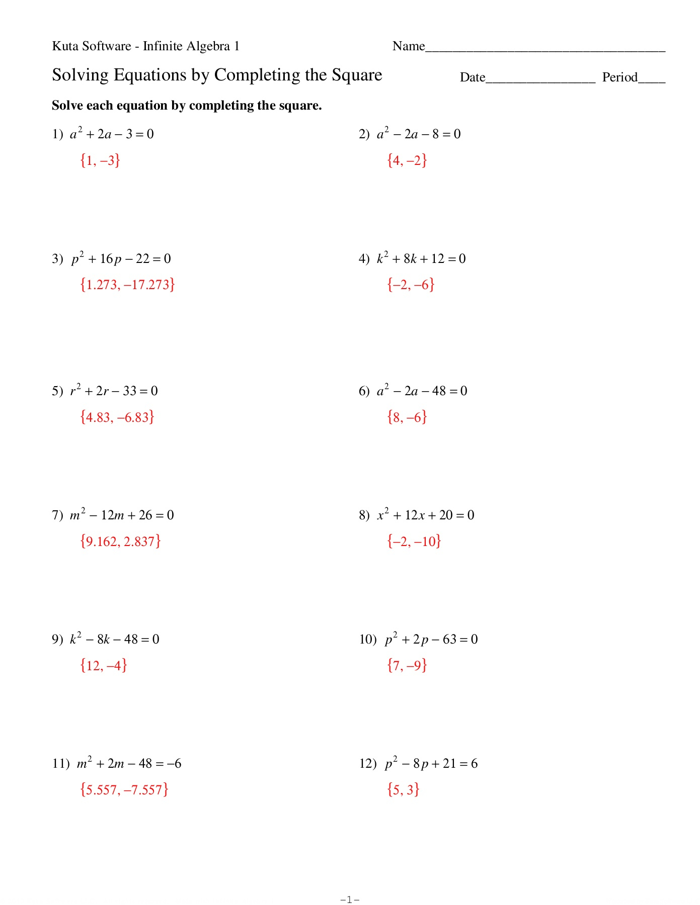 Solving Completing Square Practice-Flip Ebook Pages 1 - 4