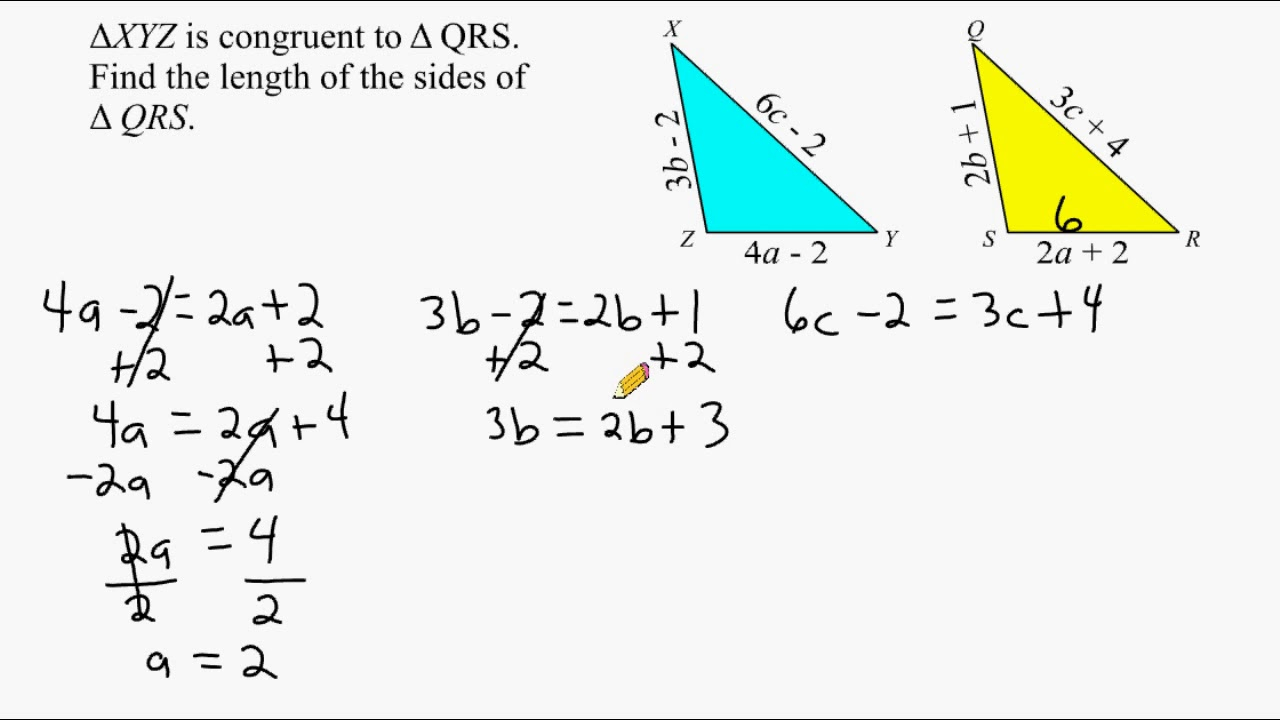 Solving Equations With A Variable On Both Sides - Congruent Triangles