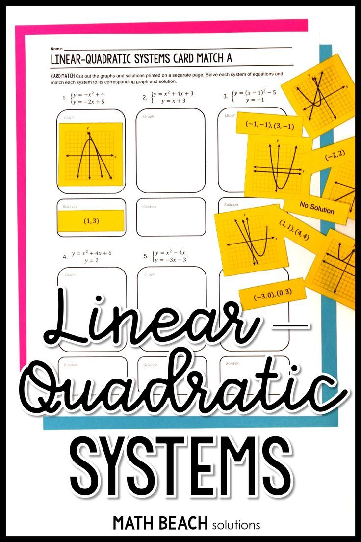 Solving Linear-Quadratic Systems Card Match Activity