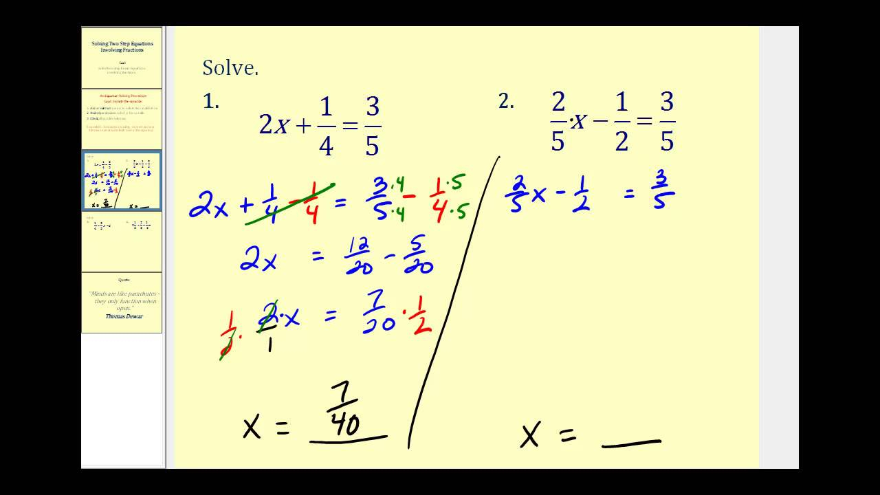 Solving Two-Step Equations (Video Lessons, Examples, Solutions)