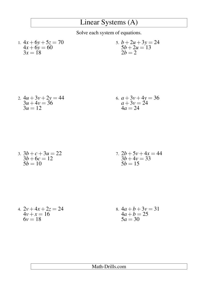 Systems Of Linear Equations -- Three Variables -- Easy (A)