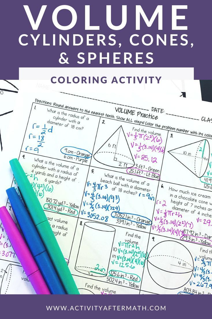 Volume Of Cylinders, Cones, And Spheres Coloring Activity In
