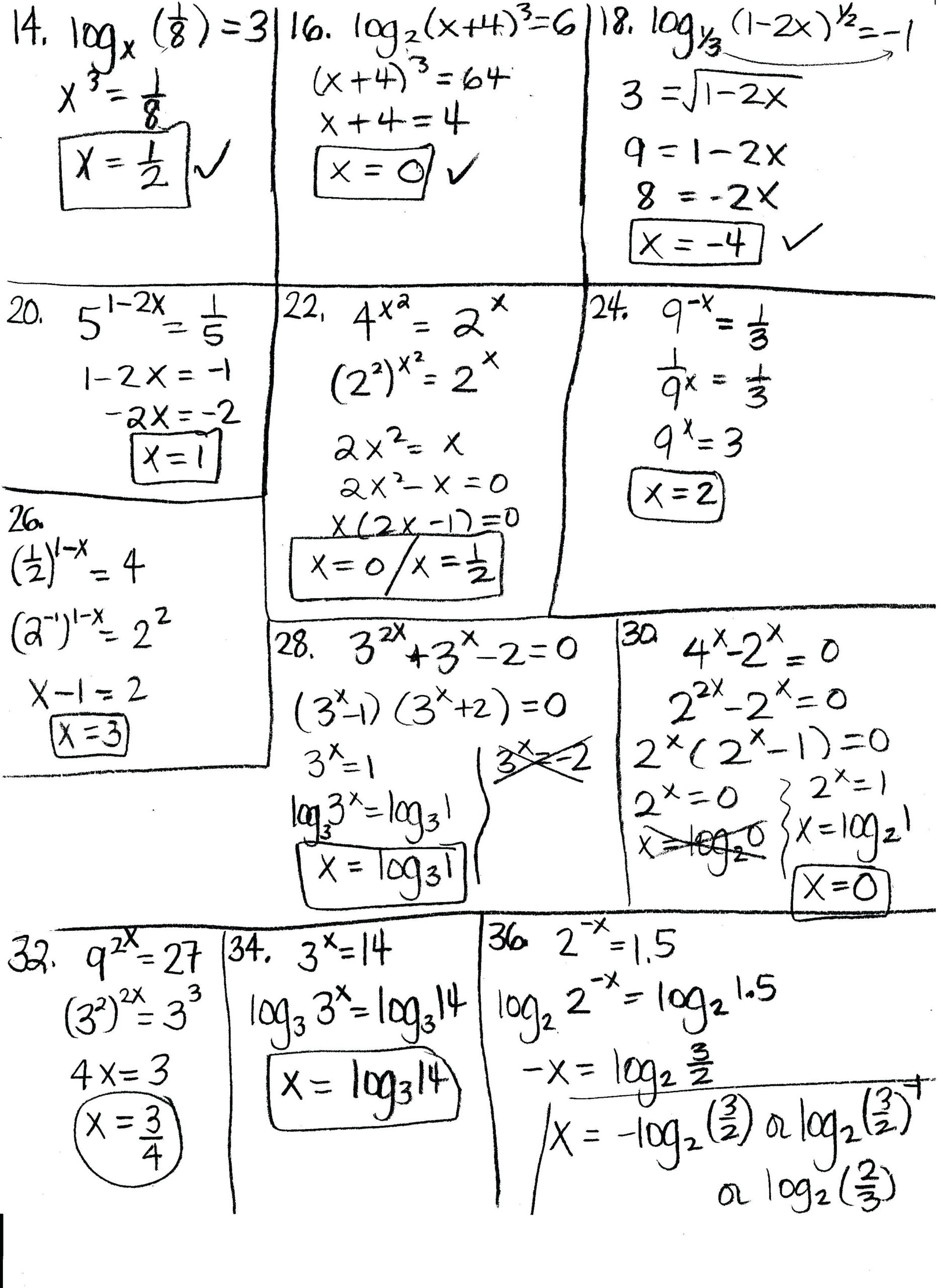 Worksheet On Solving Exponential And Logarithmic Functions